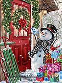 Dona Gelsinger, CHRISTMAS SANTA, SNOWMAN, WEIHNACHTSMÄNNER, SCHNEEMÄNNER, PAPÁ NOEL, MUÑECOS DE NIEVE, paintings+++++,USGE2006A,#x# ,puzzle,puzzels