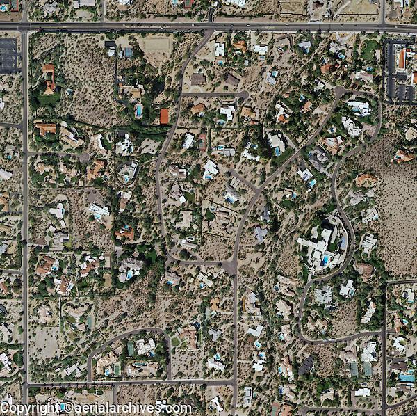 aerial photo map of desert residential properties in Phoenix, Arizona