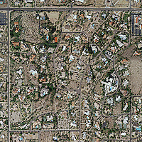 aerial photo map of desert residential properties in Phoenix, Arizona