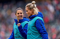 CARSON, CA - FEBRUARY 9: Carli Lloyd #10 of the United States talks with Ashlyn Harris #18 during a game between Canada and USWNT at Dignity Health Sports Park on February 9, 2020 in Carson, California.