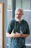 George Church is a geneticist, molecular engineer, and chemist, at  Robert Winthrop Professor of Genetics at Harvard Medical School and Professor of Health Sciences and Technology at Harvard and MIT, seen here in his lab and office at the New Research Building  in Boston, Massachusetts, USA, on Tues., Sept. 5, 2017.