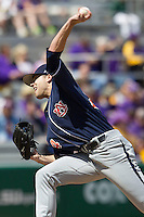 Auburn Tigers pitcher Will Kendall #24 delivers a pitch to the plate against the LSU Tigers in the NCAA baseball game on March 24, 2013 at Alex Box Stadium in Baton Rouge, Louisiana. LSU defeated Auburn 5-1. (Andrew Woolley/Four Seam Images).