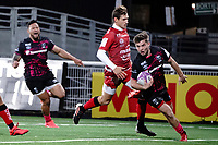 16th October 2020, Stade Maurice David, Aix-en-Provence, France;  Challenge Cup Rugby Final Bristol Bears versus RC Toulon;  Harry Randall (Bristol Bears) cuts in to score his try