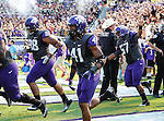 TCU Horned Frogs safety Jonathan Anderson (41) and TCU Horned Frogs defensive tackle Jon Lewis (98) in action during the game between the Virginia Cavaliers and the TCU Horned Frogs  at the Amon G. Carter Stadium in Fort Worth, Texas. TCU defeats Virginia 27 to 7...