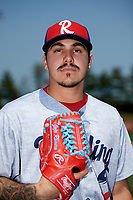 Reading Fightin Phils pitcher JoJo Romero (10) poses for a photo before game two of a doubleheader against the Portland Sea Dogs on May 15, 2018 at FirstEnergy Stadium in Reading, Pennsylvania.  The game was suspended in the ninth inning with Reading leading Richmond 9-7.  (Mike Janes/Four Seam Images)