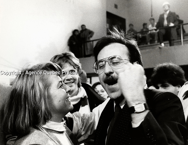 Montreal (QC) CANADA - December 1st , 1984 file photo - Andre Boisclair win get re-elected while<br /> The Parti Quebecois (PQ) Loose 1985 Provincial election