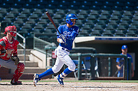 Kansas City Royals shortstop Jeison Guzman (1) starts down the first base line during an Instructional League game against the Cincinnati Reds on October 2, 2017 at Surprise Stadium in Surprise, Arizona. (Zachary Lucy/Four Seam Images)