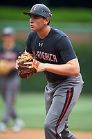Triston Casas (37) of American Heritage High School in Pembroke Pines, Florida during practice before the Under Armour All-American Game presented by Baseball Factory on July 23, 2016 at Wrigley Field in Chicago, Illinois.  (Mike Janes/Four Seam Images)