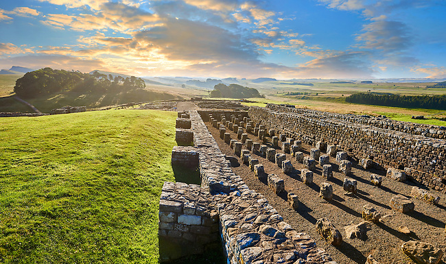 The remains of the grain stores showing underground heating piers,  Houseteads Roman Fort, Veronicum, Hadrians Wall, A UNESCO World Heritage Site, Northumberland, England, UK