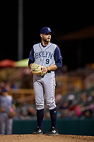 Brooklyn Cyclones relief pitcher Tommy Wilson (9) gets ready to deliver a pitch during a game against the Tri-City ValleyCats on August 21, 2018 at Joseph L. Bruno Stadium in Troy, New York.  Tri-City defeated Brooklyn 5-2.  (Mike Janes/Four Seam Images)