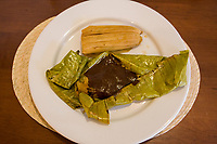 "Oaxaca, Mexico, North America.  Two Tamales, one in Banana Leaf with Chocolate Mole Sauce, one in Corn Husk.  ""Duo de Tamalitos."""
