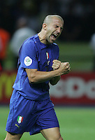 Italian forward (7) Alessandro Del Piero celebrates his converted penalty kick.  Italy defeated France on penalty kicks after leaving the score tied, 1-1, in regulation time in the FIFA World Cup final match at Olympic Stadium in Berlin, Germany, July 9, 2006.