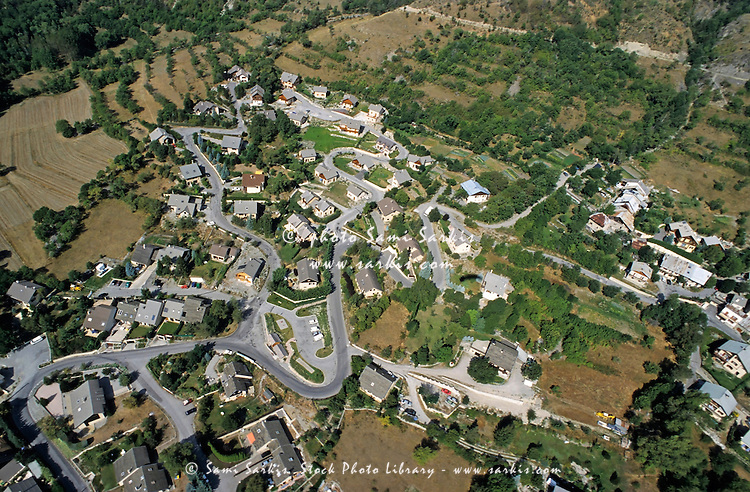 New housing development seen from above in Briancon, France.