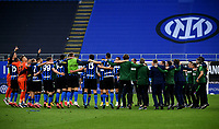 Inter Milan's team members celebrate at the end of the Italian Serie A football match between Inter Milan and Sampdoria at Milan's Giuseppe Meazza stadium, May 8, 2021. Inter won his 19th Scudetto.<br /> UPDATE IMAGES PRESS/Isabella Bonotto
