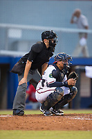 Danville Braves catcher William Contreras (24) on defense as home plate umpire Josh Gilreath looks on during the game against the Elizabethton Twins at American Legion Post 325 Field on July 1, 2017 in Danville, Virginia.  The Twins defeated the Braves 7-4.  (Brian Westerholt/Four Seam Images)