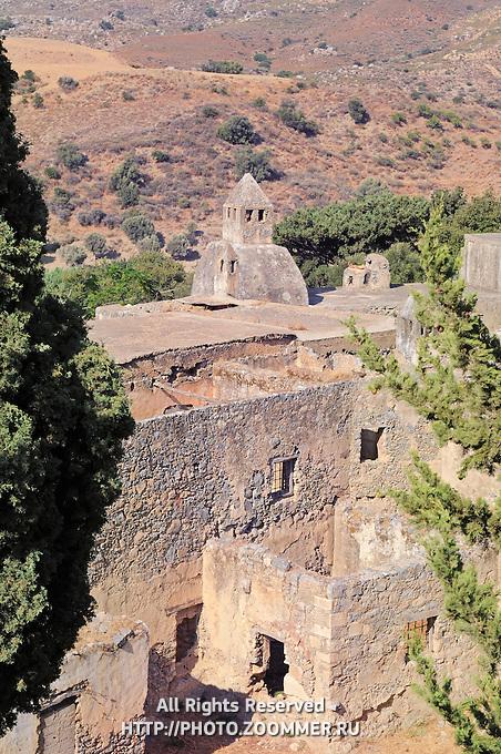 The ruins of the old Monastery of Preveli, Crete, Greece