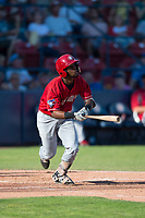 Vancouver Canadians third baseman Otto Lopez (5) starts down the first base line during a Northwest League game against the Spokane Indians at Avista Stadium on September 2, 2018 in Spokane, Washington. The Spokane Indians defeated the Vancouver Canadians by a score of 3-1. (Zachary Lucy/Four Seam Images)