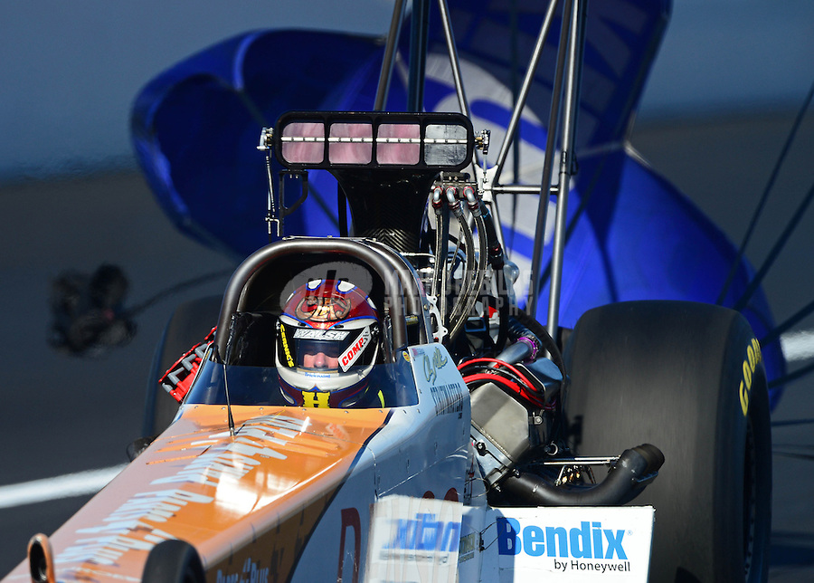 Nov. 11, 2012; Pomona, CA, USA: NHRA top fuel dragster driver Clay Millican during the Auto Club Finals at at Auto Club Raceway at Pomona. Mandatory Credit: Mark J. Rebilas-