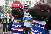 World Champion Peter Sagan (SVK/Bora Hansgrohe) posing with the mascottes of Tom Boonen's hometown MOL(e).  <br /> <br /> 105th Scheldeprijs 2017 (1.HC)<br /> 1day race: Mol > Schoten 200km