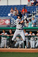 West Virginia Black Bears Brett Kinneman (5) at bat during a NY-Penn League game against the Batavia Muckdogs on June 26, 2019 at Dwyer Stadium in Batavia, New York.  Batavia defeated West Virginia 4-2.  (Mike Janes/Four Seam Images)