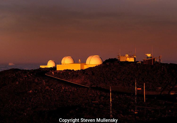 """The Haleakala High Altitude Observatory Site, on the Island of Maui is the site of Hawaii's first astronomical research. At 10,000 feet elevation, Haleakala is above one third of the earth's atmosphere. """"Seeing"""" conditions on Haleakala can be as good as on Mauna Kea, a site recognized to have the best astronomical conditions for ground-based observatories."""