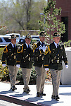 The Carson City Sheriff's Honor Guard marches into a flag pole dedication ceremony at the Carson City Sheriff's Office in Carson City, Nev., on Wednesday, April 24, 2013. .Photo by Cathleen Allison