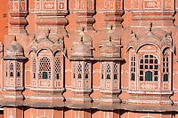 Jaipur, Rajasthan, India.  Hawa Mahal, built 1799.  Hexagons in the windows.