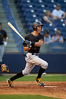 Bradenton Marauders shortstop Cole Tucker (3) follows through on a swing during a game against the Tampa Yankees on April 15, 2017 at George M. Steinbrenner Field in Tampa, Florida.  Tampa defeated Bradenton 3-2.  (Mike Janes/Four Seam Images)