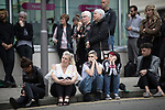 © Joel Goodman - 07973 332324 . 30/06/2017 . Stockport , UK . Crowds in the street outside the Town Hall watch the service on a big screen . The funeral of Martyn Hett at Stockport Town Hall . Martyn Hett was 29 years old when he was one of 22 people killed on 22 May 2017 in a murderous terrorist bombing committed by Salman Abedi, after an Ariana Grande concert at the Manchester Arena . Photo credit : Joel Goodman
