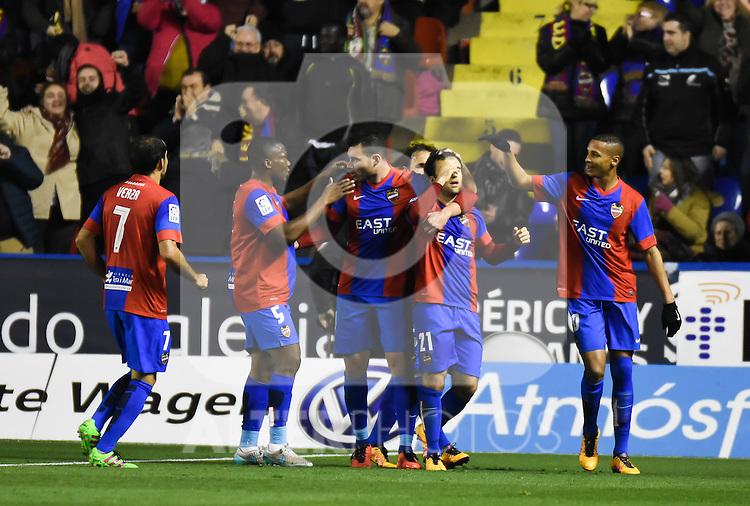 Levante's    players celebrating a goal  during La Liga match. February 19, 2016. (ALTERPHOTOS/Javier Comos)