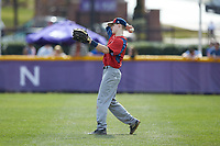 NJIT Highlanders right fielder Matthew Cocciadiferro (8) throws the ball back to the infield during the game against the High Point Panthers at Williard Stadium on February 18, 2017 in High Point, North Carolina. The Panthers defeated the Highlanders 11-0 in game one of a double-header. (Brian Westerholt/Four Seam Images)