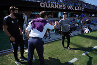 SAN JOSE, CA - AUGUST 8: San Jose Earthquakes head coach Matias Almeyda greets Los Angeles FC head coach Bob Bradley before a game between Los Angeles FC and San Jose Earthquakes at PayPal Park on August 8, 2021 in San Jose, California.