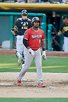 BJ Boyd (9) of the Nashville Sounds bats against the Salt Lake Bees at Smith's Ballpark on July 27, 2018 in Salt Lake City, Utah. The Bees defeated the Sounds 8-6. (Stephen Smith/Four Seam Images)