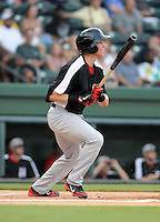 Third baseman Drew Robinson (33) of the Hickory Crawdads in a game against the Greenville Drive on Friday, August 31, 2012, at Fluor Field at the West End in Greenville, South Carolina. Greenville won, 7-2. (Tom Priddy/Four Seam Images)