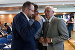 The candidate of Ciudadanos for Barcelona, Juan Carlos Girauta (L) and Politic Josep Borrell (R) involved in the presentation of the report on the State of the European Union in Madrid. June 02. 2016. (ALTERPHOTOS/Borja B.Hojas)