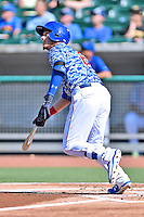 Tennessee Smokies center fielder Albert Almora Jr. (6) swings at a pitch during a game against the Birmingham Barons on August 2, 2015 in Kodak, Tennessee. The Smokies defeated the Barons 5-2. (Tony Farlow/Four Seam Images)
