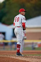 Auburn Doubledays pitcher Gilberto Chu (10) during a NY-Penn League game against the Batavia Muckdogs on June 18, 2019 at Dwyer Stadium in Batavia, New York.  Batavia defeated Auburn 7-5.  (Mike Janes/Four Seam Images)