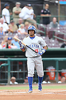 Franklin Barreto (10) of the Stockton Ports bats during a game against the Inland Empire 66ers at San Manuel Stadium on June 28, 2015 in San Bernardino, California. Stockton defeated Inland Empire, 4-1. (Larry Goren/Four Seam Images)