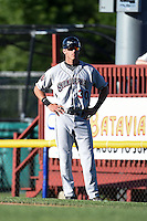 Mahoning Valley Scrappers outfielder Taylor Murphy (30) coaching first during a game against the Batavia Muckdogs on June 21, 2014 at Dwyer Stadium in Batavia, New York.  Batavia defeated Mahoning Valley 10-6.  (Mike Janes/Four Seam Images)
