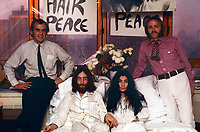 1969 File Photo - John Lennon and Yoko Ono bed in at the Queen Elizabeth Hotel in Montreal.<br /> <br /> Photo : (c) Roy Kerwood, 1969