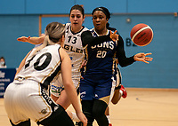 TaYani Clark of Sevenoaks Suns passes during the WBBL Championship match between Sevenoaks Suns and Newcastle Eagles at Surrey Sports Park, Guildford, England on 20 March 2021. Photo by Liam McAvoy