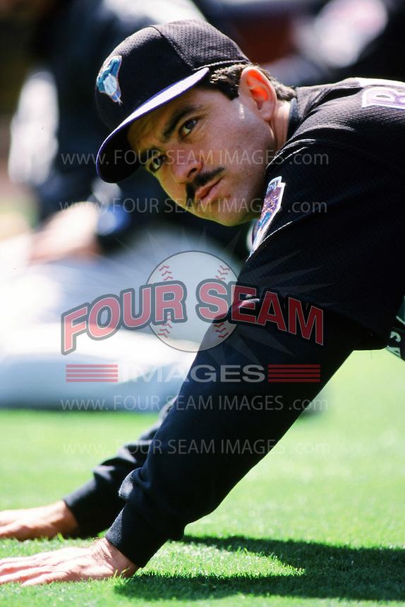 Armando Reynoso of the Arizona Diamondbacks stretches before a 1999 season Major League Baseball game against the Los Angeles Dodgers at Dodger Stadium in Los Angeles, California. (Larry Goren/Four Seam Images)