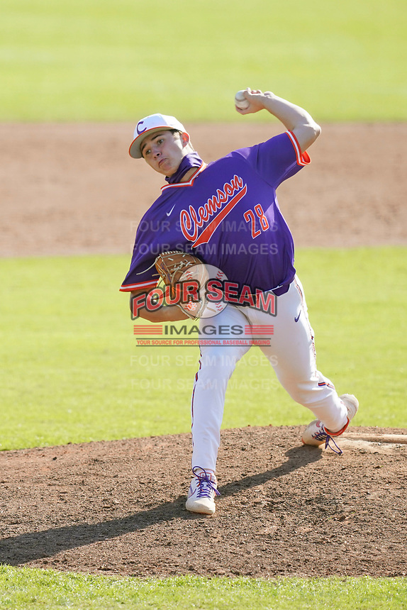 Bryson Hammer (28) of the Clemson Tigers in a fall Orange-Purple intrasquad scrimmage on Saturday, November 14, 2020, at Doug Kingsmore Stadium in Clemson, South Carolina. (Tom Priddy/Four Seam Images)