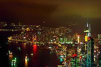 Hong Kong harbor at night, view from Victoria Park, China