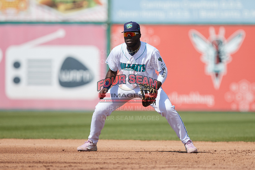 Lynchburg Hillcats first baseman Jhonkensy Noel (29) on defense against the Myrtle Beach Pelicans at Bank of the James Stadium on May 23, 2021 in Lynchburg, Virginia. (Brian Westerholt/Four Seam Images)