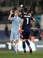 Calcio, Serie A: Roma, stadio Olimpico, 1marzo 2017.<br /> Lazio's Dusan Basta (l) and Thomas Strakosha (r) celebrates after winning the Italian TIM Cup 1st leg semifinal football match between Lazio and AS Roma at Rome's Olympic stadium, on March 1, 2017.<br /> UPDATE IMAGES PRESS/Isabella Bonotto