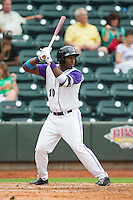 Courtney Hawkins (10) of the Winston-Salem Dash at bat against the Frederick Keys at BB&T Ballpark on July 21, 2013 in Winston-Salem, North Carolina.  The Dash defeated the Keys 3-2.  (Brian Westerholt/Four Seam Images)