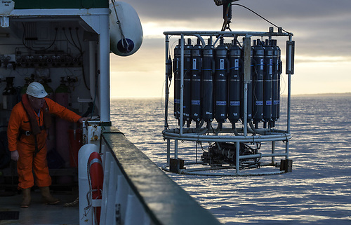 Oceanographic sampling from the RV Celtic Explorer with a CTD/rosette. A CTD measures conductivity (which helps determine salinity), temperature and depth