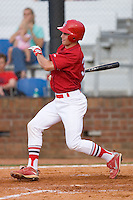Robert Stock #35 of the Johnson City Cardinals follows through on his swing versus the Bluefield Orioles at Howard Johnson Field August 1, 2009 in Johnson City, Tennessee. (Photo by Brian Westerholt / Four Seam Images)