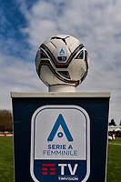 The women serie A official Puma ball is seen over a pedestal with Serie A logo prior to the Women Serie A football match between AS Roma and FC Internazionale at stadio Agostino Di Bartolomei, Roma, March 20th, 2021. AS Roma won 4-3 over FC Internazionale. Photo Andrea Staccioli / Insidefoto